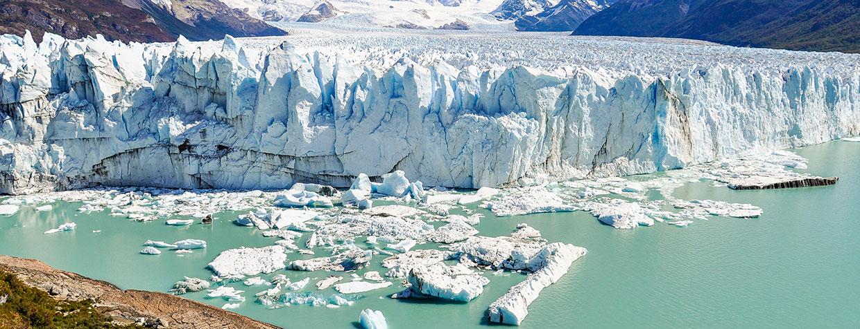 glacier and icebergs